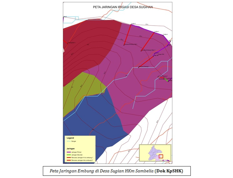 Peta Jaringan Embung di Desa Sugian HKm Sambelia (Dok KpSHK)