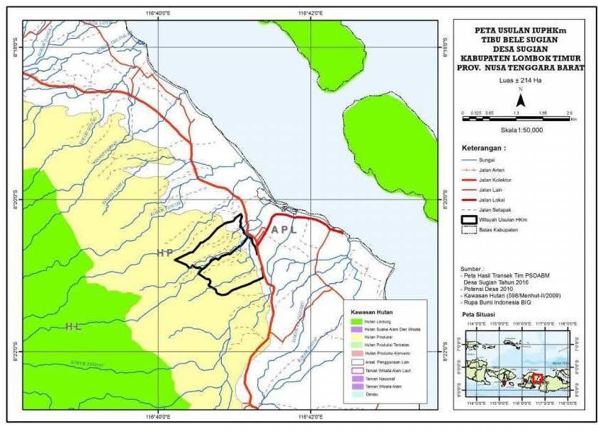 Peta Usulan IUPHKm Tibu Bele Desa Sugian Kecamatan Sambelia Kab. Lombok Timur, NTB
