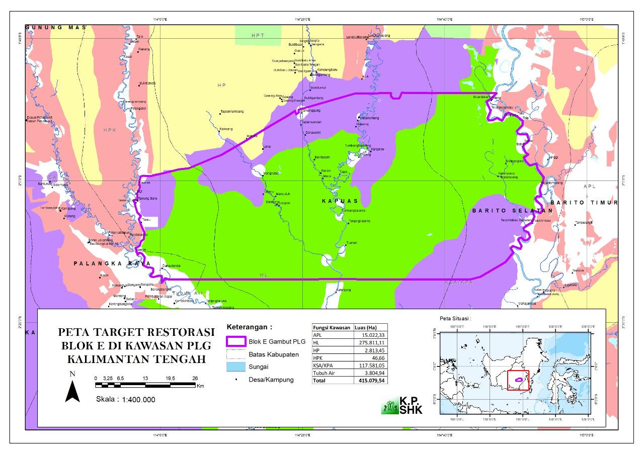 Peta Kawasan Eks PLG (Peta diolah KPSHK, 2018)